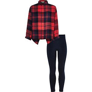 Girls red check shirt leggings set
