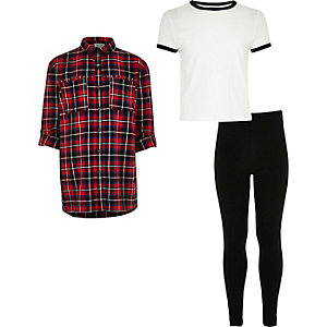 Girls red check shirt, T-shirt and leggings