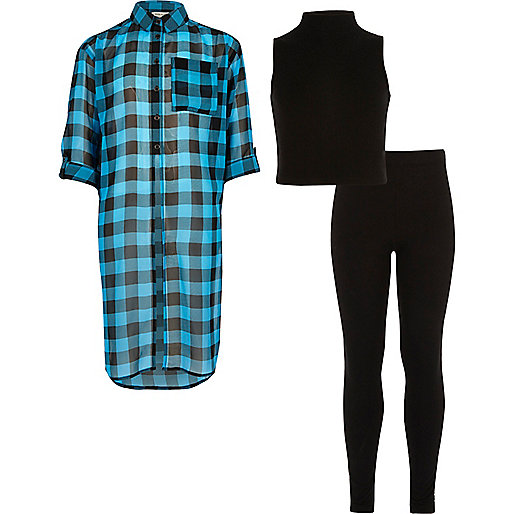 Girls blue check shirt top leggings outfit