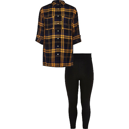 Girls yellow check shirt and leggings set