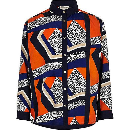 Girls blue spliced print shirt