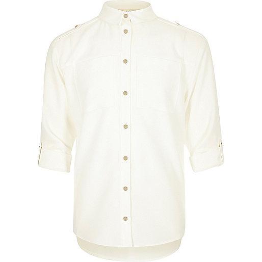 Girls white military shirt