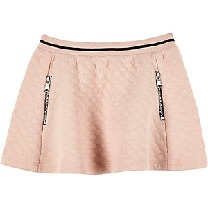 Mini girls pink jacquard skater skirt
