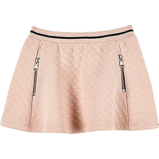 Mini girls pink jacquard skater skirt