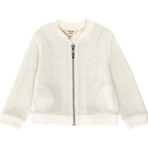 Mini girls white lurex knit bomber jacket