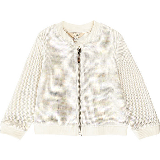 Mini girls white lurex knit bomber jacket