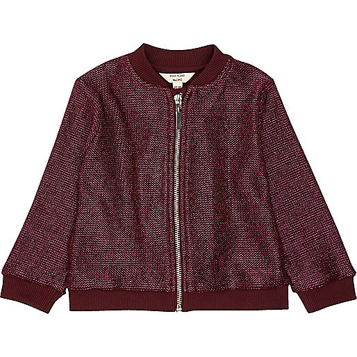 Mini girls dark red lurex knit bomber jacket