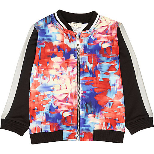 Mini girls pink print bomber jacket