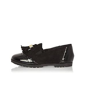 Mini girls black tassel loafers