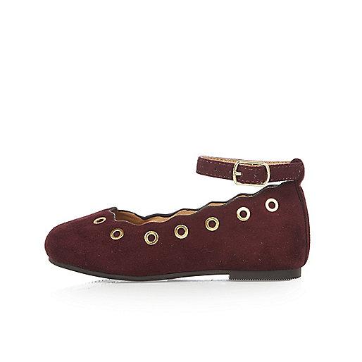 Mini girls red eyelet ballerina shoes