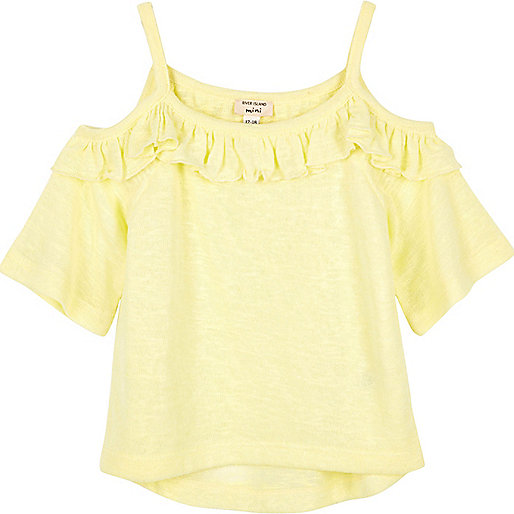 Mini girls yellow frilly cold shoulder top