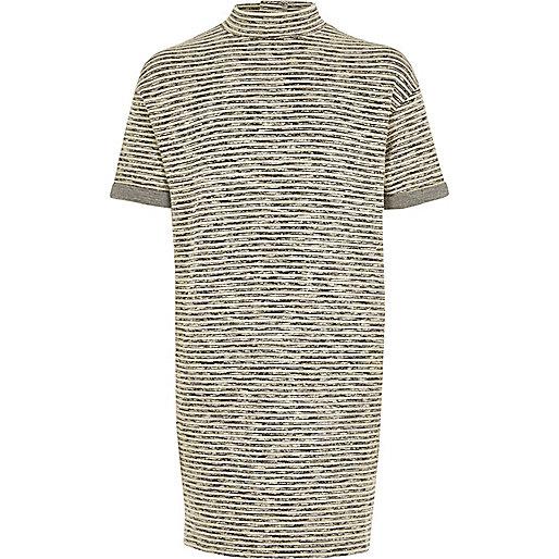 Girls grey stripe cocoon dress