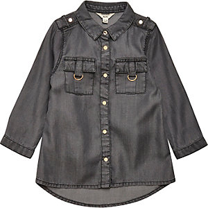 Mini girls grey tencel shirt