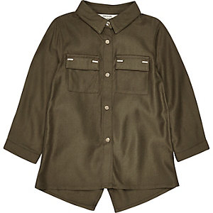 Mini girls khaki metallic trim shirt