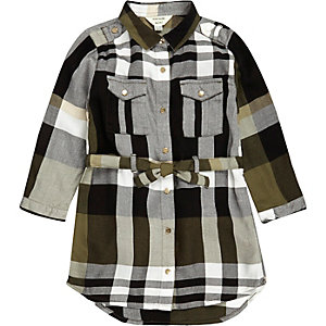Mini girls khaki checked shirt dress