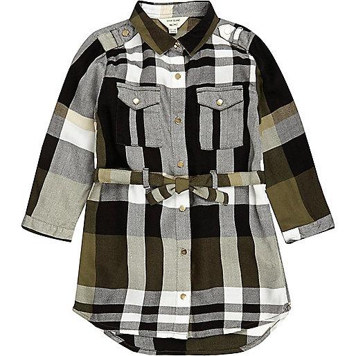 Mini girls khaki checked shirt dress