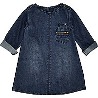 Mini girls dark wash denim shift dress