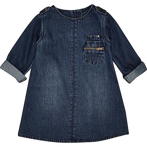 Robe droite en jean délavage foncé mini fille
