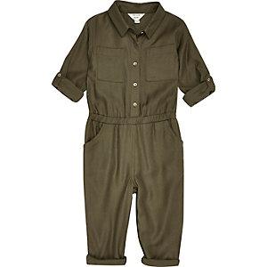 Combinaison kaki militaire mini fille
