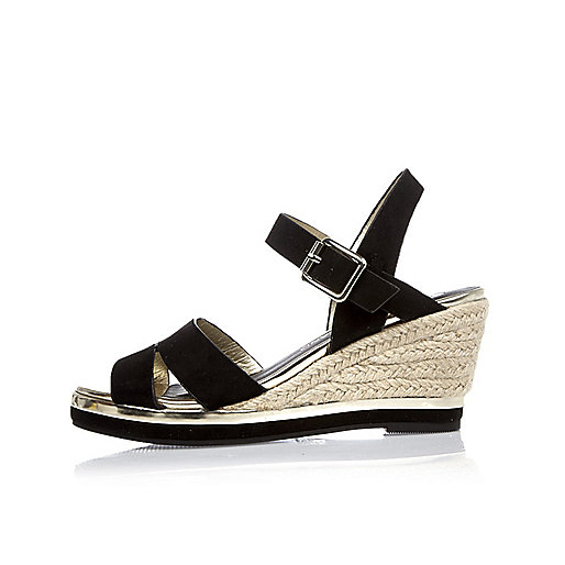 Girls black espadrille wedges