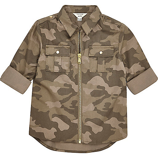 Mini girls khaki camo zip shirt