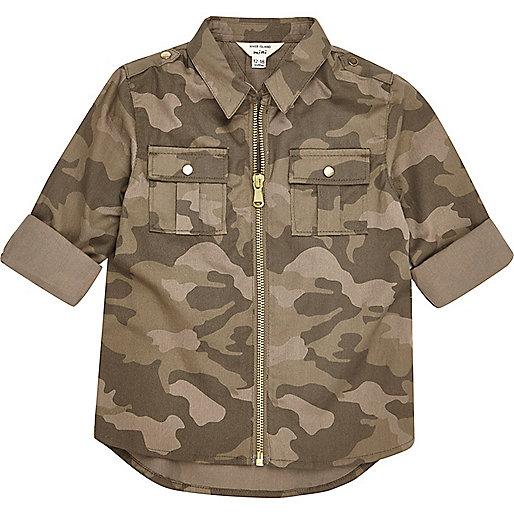 Chemise camouflage kaki zipée mini fille