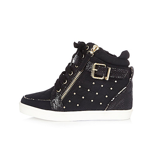 Girls black studded wedge hi tops