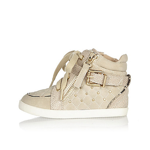 Mini girls cream studded hi tops