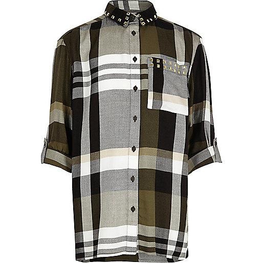 Girls khaki stud check oversized shirt