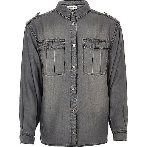 Graues Oversized-Hemd
