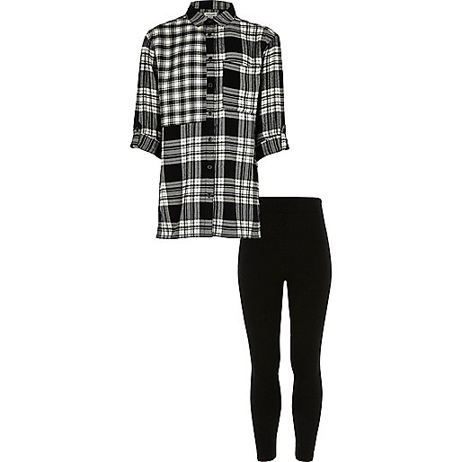 Girls black check shirt and leggings set