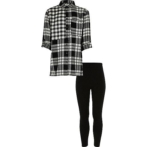 Girls black check shirt and leggings set