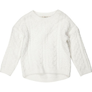 Mini girls cream cable knit sweater