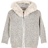 Mini girls grey furry sweater with faux fur