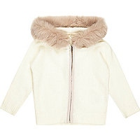Mini girls cream faux fur hooded cardigan