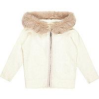Mini girls cream faux fur hooded cardigan