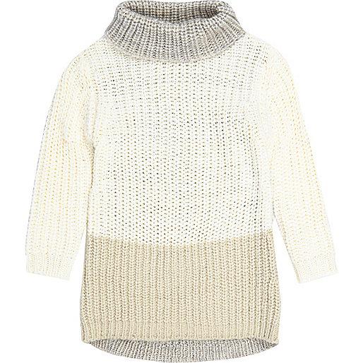 Mini girls cream roll neck jumper dress