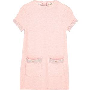 Robe droite en maille duveteuse rose pour fille