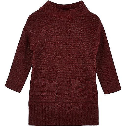 Mini girls dark red roll neck jumper dress