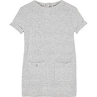 Mini girls grey fluffy knit shift dress