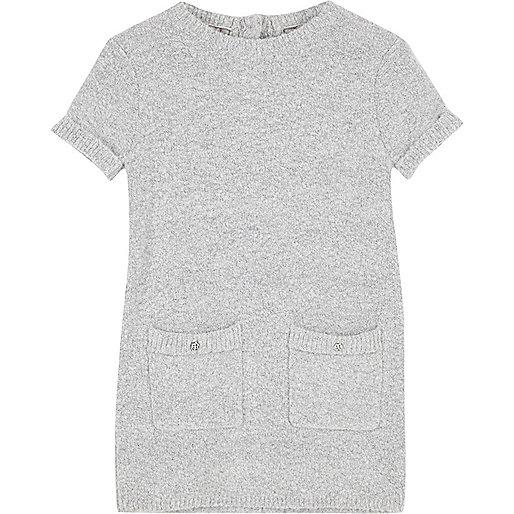 Robe droite en maille duveteuse grise mini fille