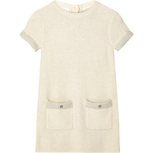 Mini girls ecru fluffy knit shift dress