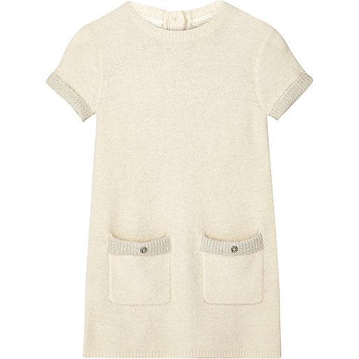 Mini girls ecru fluffy knit shift dress