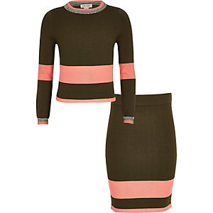 Girls khaki stripe knit top and skirt set