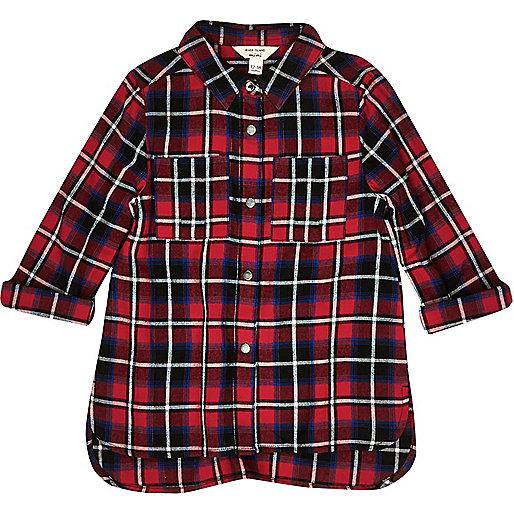 Chemise à carreaux rouge mini fille