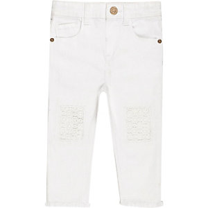 Mini girls white crochet jeans