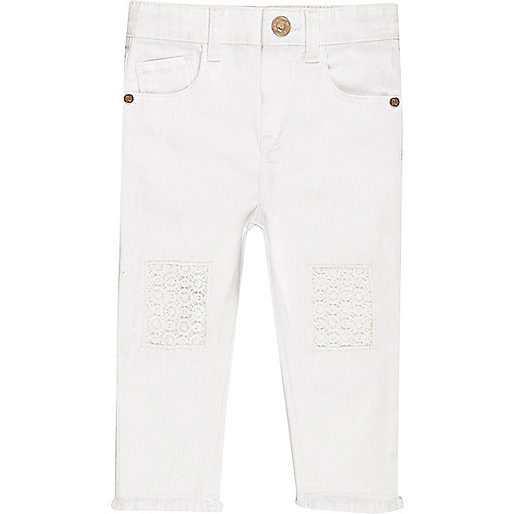 Mini girls white crochet jeans