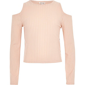 Girls light pink cold shoulder top