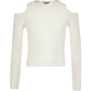 Girls cream cold shoulder top
