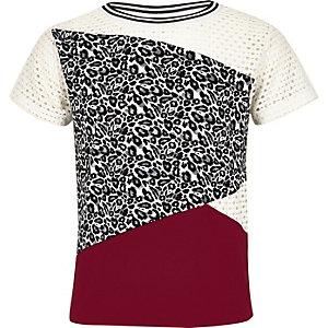 Girls white animal mesh panel t-shirt